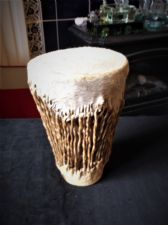 "GENUINE AFRICAN HAND MADE DRUM WITH RATTLE INSIDE 8.5"" HIGH"